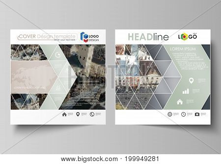 Business templates for square design brochure, magazine, flyer, booklet or annual report. Leaflet cover, abstract flat layout, easy editable vector. Colorful background made of dotted texture for travel business, urban cityscape.