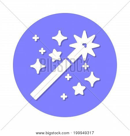 Magic wand flat icon. Round colorful button, circular vector sign with shadow effect. Flat style design