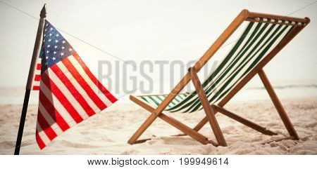 Light with a white background against beach chairs on tropical sand beach