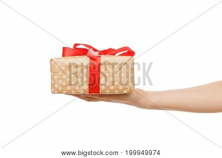 Woman's hands give present in paper with red ribbon, isolated on white background, close-up, cutout