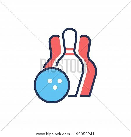 Bowling - modern vector single line design icon. An image of sport industry items, bowilng ball, three pins, red and blue color, white background. Team game, leisure, hobby symbol