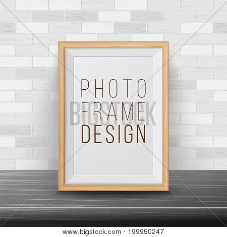 3d Photo Frame Vector. Rectangular Frame Template. Good For Posters, Presentations, Exhibition. Brick Wall Background. Trendy Interior
