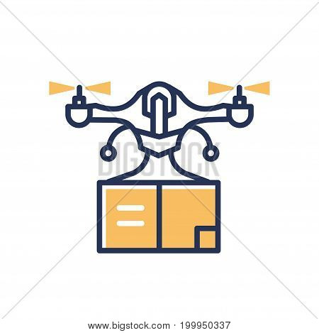 Delivery Drone - modern vector single line design icon. An image of air delivery technology device, carrier copter flying and transporting a package box. Hi-tech progress symbol