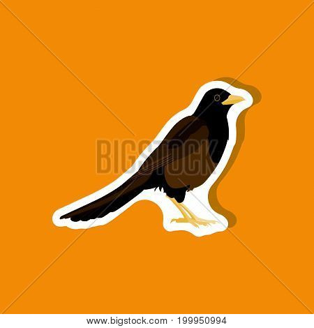 magpie paper sticker on stylish background animal