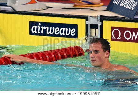 Hong Kong China - Oct 30 2016. The winner ROMANCHUK Mykhailo (UKR) after the Men's Freestyle 1500m Final. FINA Swimming World Cup Victoria Park Swimming Pool.