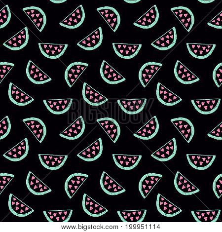 Watermelons seamless pattern. Hand drawn decoration backdrop for your business. Good for wallpaper, invitation card, scrapbook, wrapping paper, website background, fashion textile print.