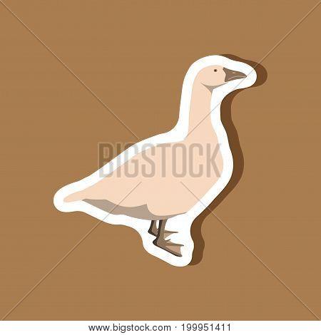 goose paper sticker on stylish background animal