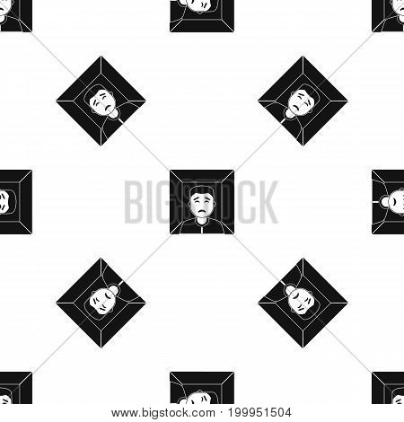 Man pattern repeat seamless in black color for any design. Vector geometric illustration