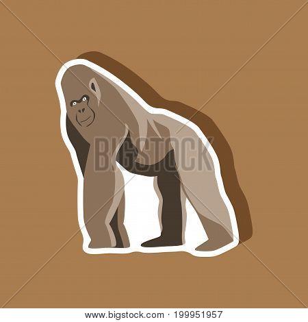gorilla paper sticker on stylish background animal