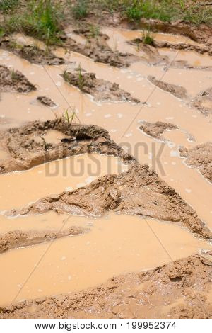 Road wet muddy of countryside natural background