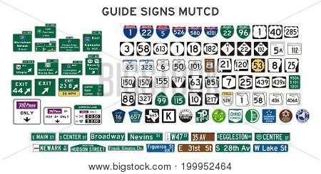 set of isolated guide signs of usa