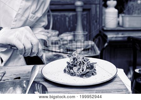 Professional cook is making light vegetable appetizer, toned image