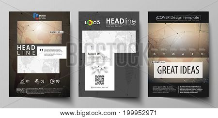 The black colored vector illustration of the editable layout of A4 format covers design templates for brochure, magazine, flyer, booklet. Global network connections, technology background with world map.
