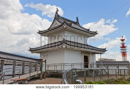 UTSUNOMIYA JAPAN - JUNE 2 2017: Reconstructed Seimeidai Turret (used as donjon) of Utsunomiya Castle Japan. Castle was founded in 1062 destroyed in Boshin war of 1868 and reconstructed in 2007