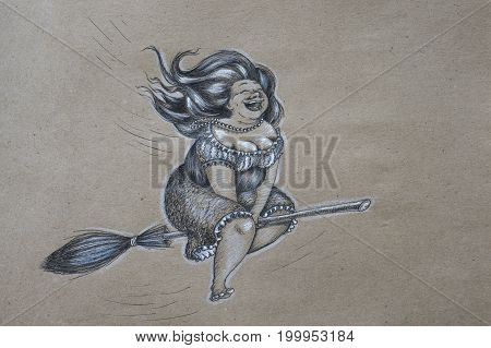 Hand drawn joyful plump witch with wealth of hair flying on a broomstick and roaring with laughter. Black and white kraftpaper