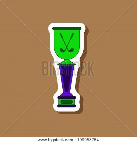 paper sticker on stylish background Golf cup