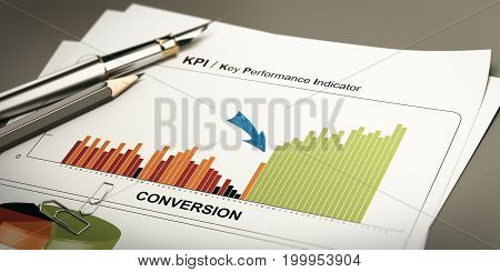 Paper sheet with conversion rates statistics and rapid performance 3D illustration.