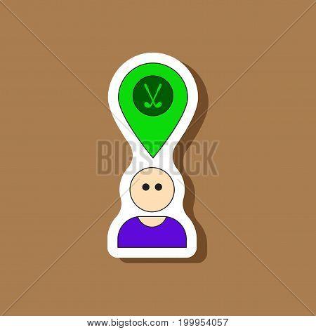 paper sticker on stylish background Golfer logo