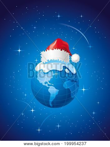 Merry Christmas, Dear Planet poster with Earth in space. Holiday vector illustration, Greeting card, xmas Santa Claus hat poster