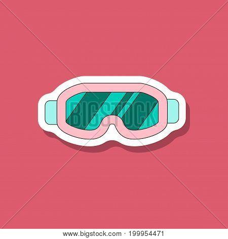 paper sticker on stylish background Ski goggles