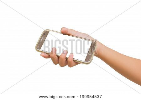 right hand of twelve year old asian young girl holding smartphone isolated on white background. Clipping path.