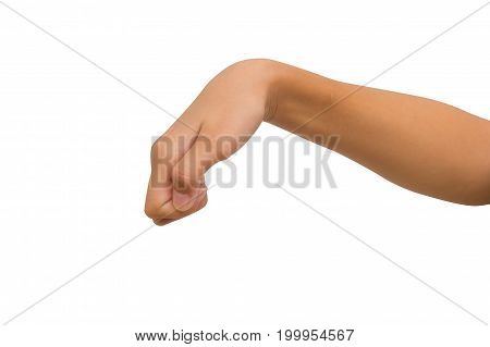 hand of twelve year old asian young girl gesture knocking on the door isolated on white background. Clipping path.
