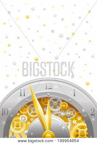 Merry Christmas and New year flyer. Greeting card design with clockwork, cogwheel, minute, hour hand, vintage metal clock element on white background. Gold silver Xmas icon, golden silver stars sky