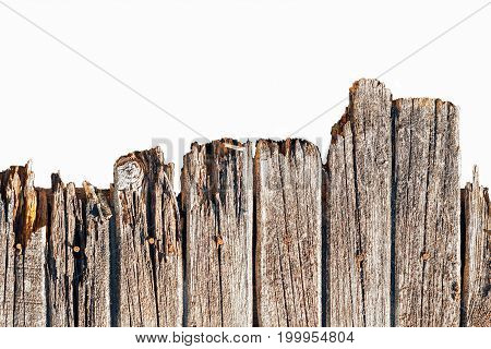 The Texture Of The Old Rotten Wooden Fence, Isolated
