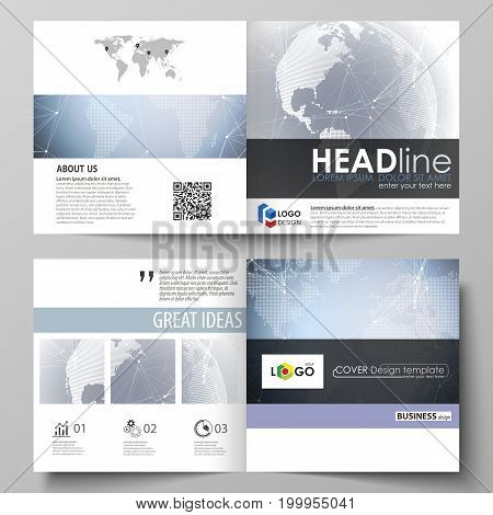 The minimalistic vector illustration of the editable layout of two covers templates for square design brochure, flyer, booklet. Abstract futuristic network shapes. High tech background