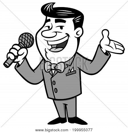 A vector illustration of a male Announcer.