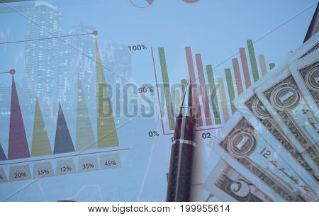 Double exposure of city with pen money graph concept for business finance.