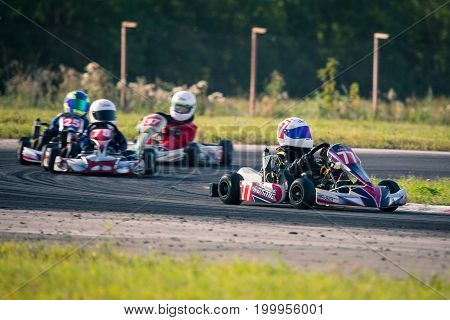 Belgorod, Russia - August 13: unidentified pilots compete on the track at the sports karting series Rotax max Cup RAF, August 13, 2017 in Virazh, Belgorod, Russia.