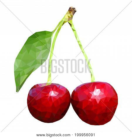 Cherries. Polygonal vector 3d illustration isolated on white background