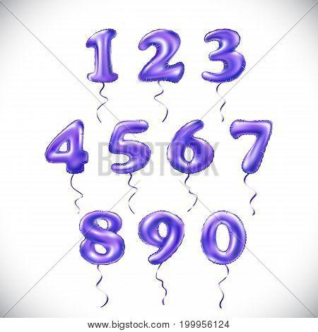 Vector Purple Number 1, 2, 3, 4, 5, 6, 7, 8, 9, 0 Metallic Balloon. Party Decoration Golden Balloons