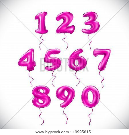 Vector Pink Number 1, 2, 3, 4, 5, 6, 7, 8, 9, 0 Metallic Balloon. Magenta Party Decoration Golden Ba