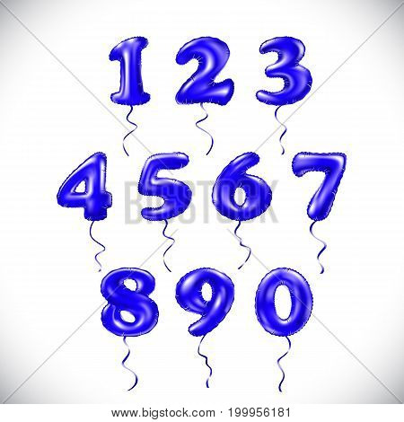 Vector Sapphirine Blue Number 1, 2, 3, 4, 5, 6, 7, 8, 9, 0 Metallic Balloon. Party Decoration Golden