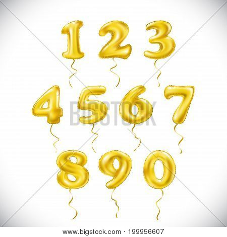 Vector Yellow Number 1, 2, 3, 4, 5, 6, 7, 8, 9, 0 Metallic Balloon. Party Decoration Golden Balloons