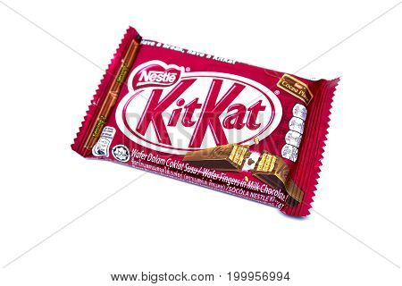 Kota Kinabalu Malaysia - August 16 2017: Kit Kat Chocolate Milk Wafer isolated on white background. Kit Kat bars are produced by Nestle. Brand Kit Kat was registered in 1911.