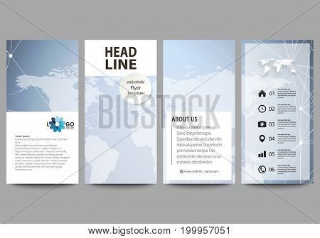 The minimalistic abstract vector illustration of the editable layout of four modern vertical banners, flyers design business templates. Polygonal texture. Global connections, futuristic geometric concept.