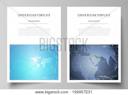 The vector illustration of the editable layout of A4 format covers design templates for brochure, magazine, flyer, booklet, report. Abstract global design. Chemistry pattern, molecule structure