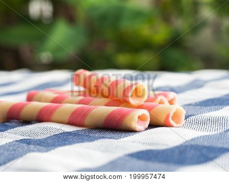 pink striped wafer rolls on blue plaid tablecloth. The background is green from tree and light bokeh