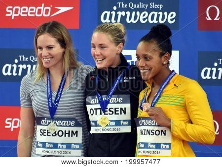 Hong Kong China - Oct 30 2016. SEEBOHM Emily (AUS) OTTESEN Jeanette (DEN) and ATKINSON Alia (JAM) at the Victory Ceremony of Women's Butterfly 50m. FINA Swimming World Cup.