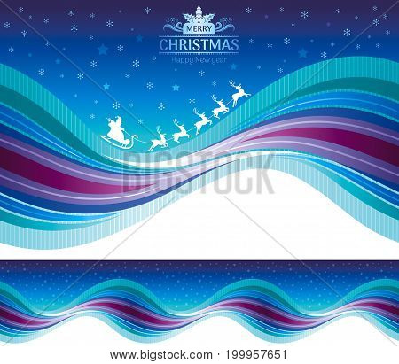 Merry Christmas Happy New Year seamless holiday vector illustration, modern elegant Santa sleigh, deers. Abstract template, snow, text lettering, wave pattern, blue night background. Greeting card