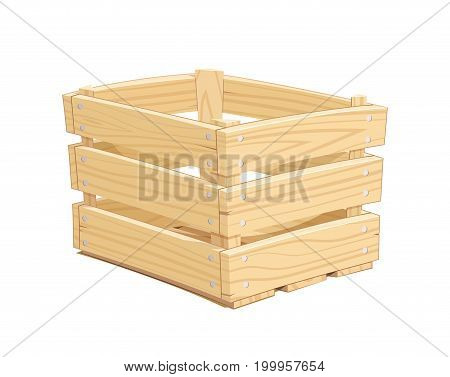 Wooden box. Pack Equipment for transportation cargo. Isolated white background. Vector illustration.