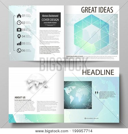 The vector illustration of the editable layout of two covers templates for square design bi fold brochure, magazine, flyer, booklet. Chemistry pattern, molecule structure, geometric design background