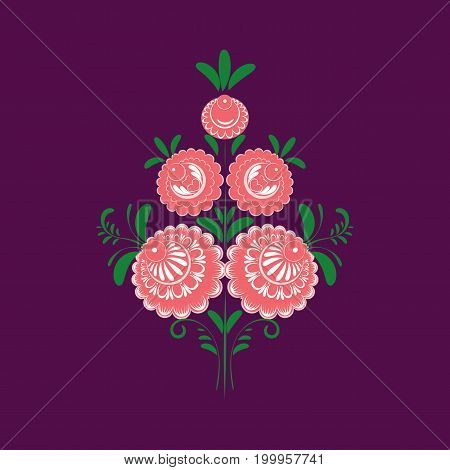 Slavic Folk Traditional Floral Ornament. Stylized Bouquet Of Roses
