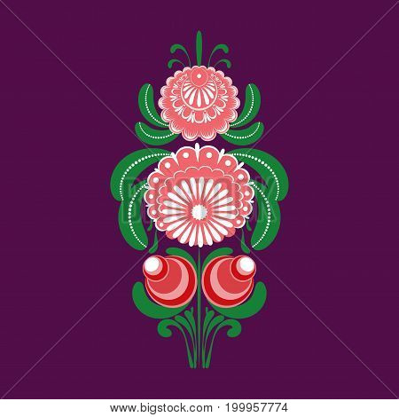 Slavic Folk Traditional Vegetable Pattern. Element Of A Decorative Border Of Roses And Berries Of Ro