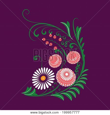 Slavic Folk Traditional Vegetable Pattern. Corner Element Of Roses, Chamomile And Berries