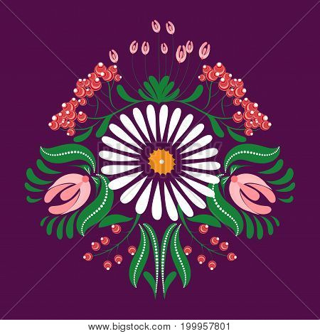Slavic Folk Traditional Vegetable Pattern. Rose Buds, Chamomile And Rowan Berries Brushes
