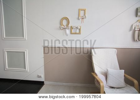 Interior Design With Armchair, Pillow And Photo Frames